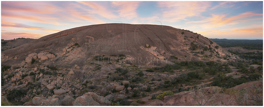 With soft clouds overhead, this panorama looks west to Enchanted Rock. My vantage point was Turkey rock, just east a short walk down and up. This look at the granite outcrop is made up of several photos stitched together and shows about a 120 degree view.