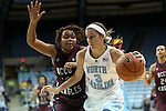12 December 2012: North Carolina's Megan Buckland (3) and NC Central's Tenika Neely (left). The University of North Carolina Tar Heels played the North Carolina Central University Eagles at Carmichael Arena in Chapel Hill, North Carolina in an NCAA Division I Women's Basketball game. UNC won the game 49-21.