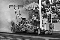 "POMONA, CALIFORNIA: ""Big Daddy"" Don Garlits drives his Top Fuel dragster during a 1985 NHRA drag race at Pomona, California."