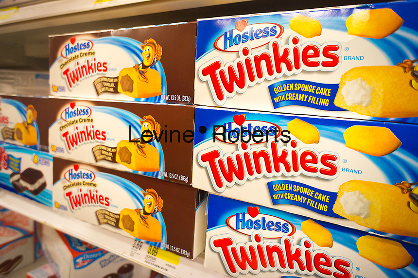 Boxes of creme-filled, tasty Hostess brand Twinkies is seen on Monday, September 3, 2012 in the baked goods department of a supermarket in New York. The iconic maker of Twinkies, as well as Wonder Bread and other favorites foods has given their union members their final offer and is awaiting rejection or approval. (© Richard B. Levine)