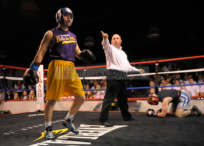 Brian Wagers (left) of Delta Tau Delta fights Mike Hughes (right) of Triangle fraternity at the Sigma Chi Fraternity & Alpha Delta Pi Sorority sponsored The Main Event 2011 in Lexington, Ky. Brian Wagers won the fight in the first round by knockout. Photo by Mike Weaver  