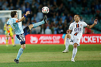 Sydney FC Alessandro Del Piero (L) controls the ball during his A-League match against Perth Glory in Sydney, April 13, 2014. Photo by Daniel Munoz/VIEWPRESS EDITORIAL USE ONLY