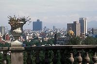 View of mexico City skyline from Chapultepec Castle or Castillo de Chapulptpec in Mexico City. .