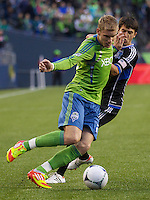 SEATTLE WASHINGTON - Saturday, Marc 31, 2012: The Seattle Sounders FC in an MLS match against the San Jose Earthquakes on XBox Pitch at CenturyLink Field. The Earthquakes won the match 1-0.