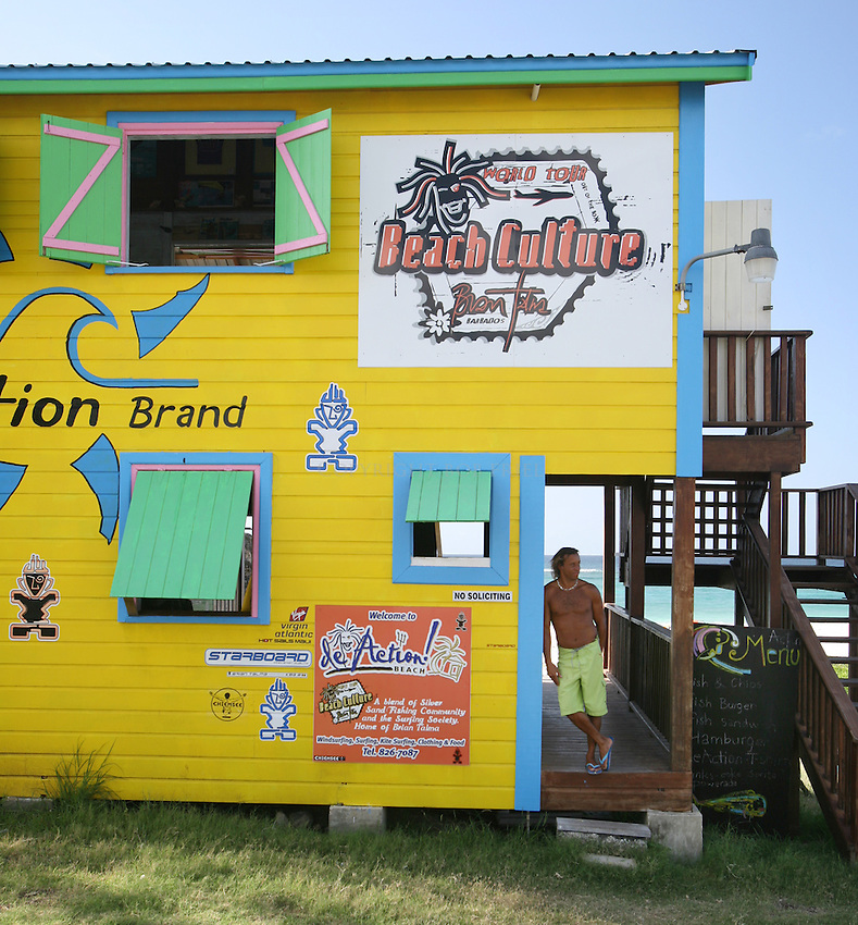 "Brian Talma's ""De Action"" water sports shop.Silver Rock Beach, Christ Church Parish.Barbados."