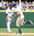 Seattle Mariners'   Brad Miller (7)  rounds the bases after hitting a solo home run against the Minnesota Twins April 26, 2015 at Safeco Field in Seattle.  The Twins beat the Mariners beat the Angels 4--2. ©2015. Jim Bryant photo. All RIGHTS RESERVED.