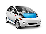2012 Mitsubishi i MiEV electric car isolated on white background with clipping path