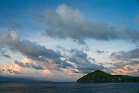 St. Vincent and Grenadines sunset from a cruise ship balcony.