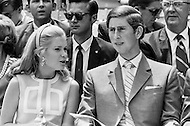 16 Jul 1970, Washington, DC, USA --- Tricia Nixon, daughter of US President Richard Nixon, talks to Charles, Prince of Wales, during the Prince's visit to Washington, DC. Prince Charles and his sister Princess Anne visited the US after an official stay in Canada. --- Image by © JP Laffont