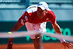 06.04.2012 Oropesa, Spain. 1/4 Final Davis Cup. Andreas Haider-Mauder in action during second match of 1/4 final game of Davis Cup played at Oropesa town.