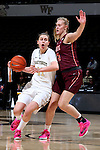 25 February 2016: Wake Forest's Elisa Penna (41) and Virginia Tech's Regan Magarity (SWE) (11). The Wake Forest University Demon Deacons hosted the Virginia Tech Hokies at Lawrence Joel Veterans Memorial Coliseum in Winston-Salem, North Carolina in a 2015-16 NCAA Division I Women's Basketball game. Virginia Tech won the game 54-48.
