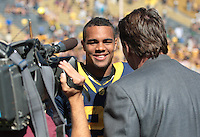 Keenan Allen speaks with the media after the game. The University of California Berkeley Golden Bears defeated the UC Davis Aggies 52-3 in their home opener at Memorial Stadium in Berkeley, California on September 4th, 2010.