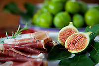 Figs, Prosciutto and Rosemary with Fig Leaf