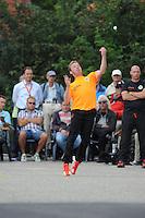 KAATSEN: FRANEKER: Sportcomplex 'De Trije', 01-09-2012, Wereldkampioenschap Kaatsen, Llargues, Finale Team Nederland - Team Colombia, Eindstand 10-1, opslag Johan van der Meulen, ©foto Martin de Jong