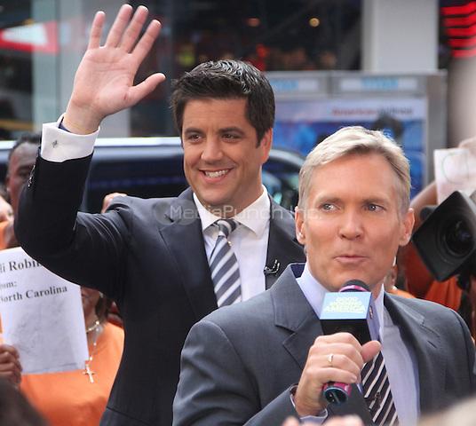 July 23,  2012 Josh Elliot, Sam Champion  of Good Morning  America in New York City.Credit:© RW/MediaPunch Inc.