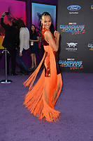 Zoe Saldana at the world premiere for &quot;Guardians of the Galaxy Vol. 2&quot; at the Dolby Theatre, Hollywood. <br /> Los Angeles, USA 19 April  2017<br /> Picture: Paul Smith/Featureflash/SilverHub 0208 004 5359 sales@silverhubmedia.com