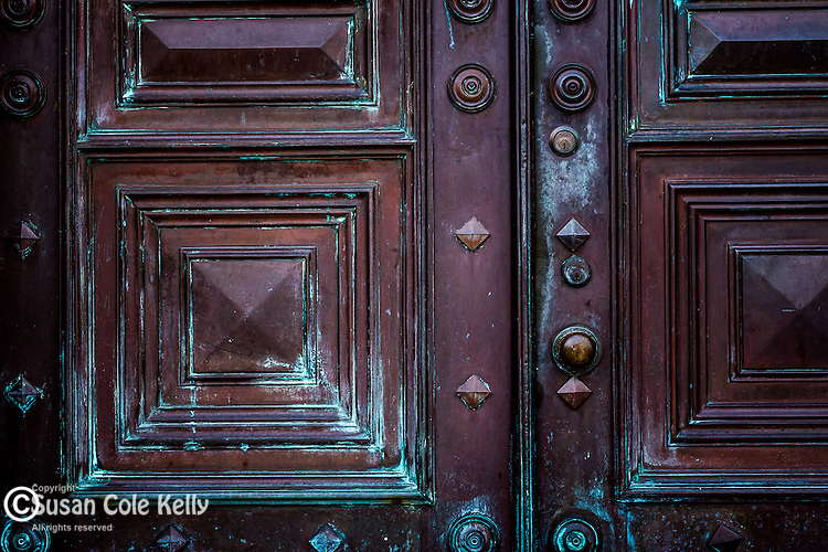 Copper Door along the Fenway, Boston, Massachusetts, USA