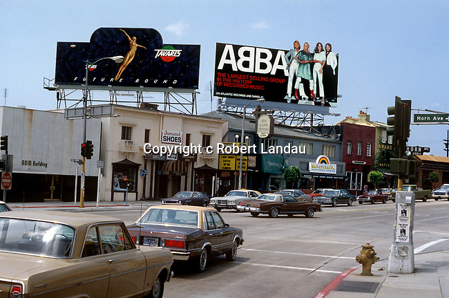 Abba and Taveres billbaords on the Sunset Strip circa 1978
