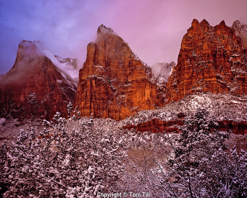 Snow at Court of the Patriarchs, Zion National Park, Utah  Zion Canyon winter sunrise