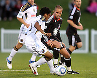 Fred(27) of D.C. United moves in on Sheanon Williams(25) of the Philadelphia Union during a play-in game for the US Open Cup tournament at Maryland Sportsplex, in Boyds, Maryland on April 6 2011. D.C. United won 3-2 after overtime penalty kicks.