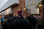 A Northampton Town fan looking towards the Shankly Gates at Anfield, before his team's Carling Cup third round tie away to Liverpool. The visitors from English League 2 defeated Premier League Liverpool on penalty kicks after a 2-2 draw after extra time in one of the biggest shock results in either clubs histories.