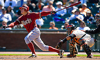 SAN FRANCISCO - APRIL 15:  Eric Byrnes of the Arizona Diamondbacks bats during the game against the San Francisco Giants at AT&T Park in San Francisco, California on April 15, 2008.  (Photo by Brad Mangin)