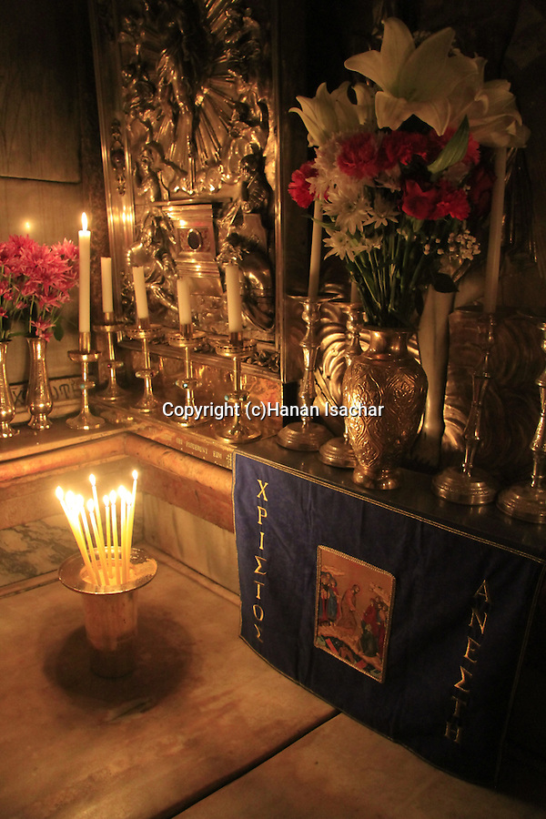 Israel, Jerusalem Old City, the interior of the Edicule at the Church of the Holy Sepulchre