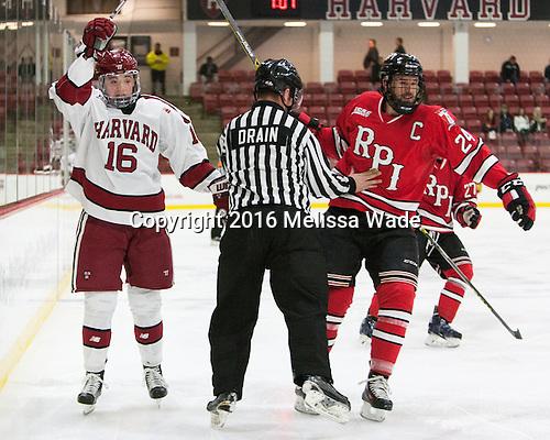 Ryan Donato (Harvard - 16), Stephen Drain, Chris Bradley (RPI - 24) - The Harvard University Crimson defeated the visiting Rensselaer Polytechnic Institute Engineers 5-2 in game 1 of their ECAC quarterfinal series on Friday, March 11, 2016, at Bright-Landry Hockey Center in Boston, Massachusetts.