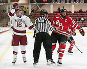 Ryan Donato (Harvard - 16), Stephen Drain, Chris Bradley (RPI - 24) - The Harvard University Crimson defeated the visiting Rensselaer Polytechnic Institute Engineers 5-2 in game 1 of their ECAC quarterfinal series on Friday, March 11, 2016, at Bright-Landry Hockey Center in Boston, Massachusetts.