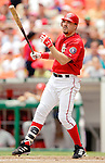 11 June 2006: Nick Johnson, first baseman for the Washington Nationals, makes a plate appearance against the Philadelphia Phillies at RFK Stadium, in Washington, DC. The Nationals shut out the visiting Phillies 6-0 to take the series three games to one...Mandatory Photo Credit: Ed Wolfstein Photo..