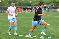 Piscataway, NJ - Saturday May 20, 2017: Erin Simon, Raquel Rodriguez prior to a regular season National Women's Soccer League (NWSL) match between Sky Blue FC and the Houston Dash at Yurcak Field.  Sky Blue defeated Houston, 2-1.
