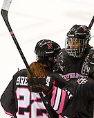 Maggie Brennolt (NU - 22), Rachel Llanes (NU - 11) - The Northeastern University Huskies defeated the visiting Providence College Friars 8-7 on Sunday, January 20, 2013, at Matthews Arena in Boston, Massachusetts.