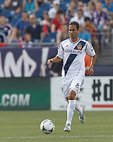 LA Galaxy midfielder Marcelo Sarvas (8) brings the ball forward.  In a Major League Soccer (MLS) match, the New England Revolution (blue) defeated LA Galaxy (white), 5-0, at Gillette Stadium on June 2, 2013.