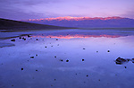 Dawn light on Badwater (lowest point in the US) and Telescope Peak, Death Valley National Park, California USA