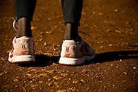 The Kenyan  flag as seen on a pair of New balance training shoes  near  Eldoret, Kenya.
