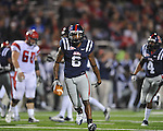 Ole Miss cornerback Jeremy McGee (6) intercepts a pass vs. Louisiana-Lafayette in Oxford, Miss. on Saturday, November 6, 2010. Ole Miss won 43-21.