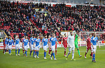 Aberdeen v St Johnstone&hellip;10.12.16     Pittodrie    SPFL<br />Steven Anderson leads saints out at Pittodrie<br />Picture by Graeme Hart.<br />Copyright Perthshire Picture Agency<br />Tel: 01738 623350  Mobile: 07990 594431