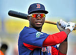 8 March 2012: Boston Red Sox second baseman Oscar Tejeda awaits his turn in the batting cage prior to a Spring Training game against the St. Louis Cardinals at Roger Dean Stadium in Jupiter, Florida. The Cardinals defeated the Red Sox 9-3 in Grapefruit League action. Mandatory Credit: Ed Wolfstein Photo