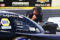May 17, 2015; Commerce, GA, USA; Jimmy Prock crew chief for NHRA funny car driver Jack Beckman during the Southern Nationals at Atlanta Dragway. Mandatory Credit: Mark J. Rebilas-USA TODAY Sports