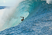 Teahupoo, Tahiti Iti, French Polynesia. Thursday August 17 2011. Pat Gudauskas (USA).  A south  west swell was hitting the main reef today with clean open barrels in the six foot range. Photo: joliphotos.com