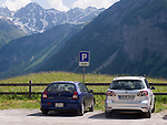 Car park for a tiny hamlet in the Alps, called God.