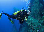 Orchid Island, Taiwan -- Diver approaching the Ba Dai ship wreck.