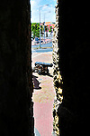 2 August 2009: A framed view of a cannon at Otrobanda in Willemstad, the capital city of Curacao. Located in the southern Caribbean, off the coast of Venezuela, Curacao is known for its tourism, excellent scuba diving and snorkeling.  Mandatory Credit: Ed Wolfstein Photo