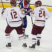 Kevin Hayes (BC - 12), Bill Arnold (BC - 24) - The University of Massachusetts Lowell River Hawks defeated the Boston College Eagles 4-2 (EN) on Tuesday, February 26, 2013, at Kelley Rink in Conte Forum in Chestnut Hill, Massachusetts.