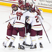 Johnny Gaudreau (BC - 13), Pat Mullane (BC - 11), Michael Matheson (BC - 5), Steven Whitney (BC - 21) - The Boston College Eagles defeated the visiting Boston University Terriers 5-2 on Saturday, December 1, 2012, at Kelley Rink in Conte Forum in Chestnut Hill, Massachusetts.