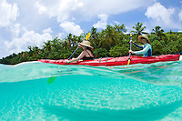 Split level kayakers<br /> Honeymoon Beach<br /> Virgin Islands National Park<br /> St. John, U.S. Virgin Islands