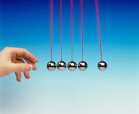 NEWTON TOY PENDULA: COLLISION EXPERIMENT<br /> Newton's Third Law <br /> (3 of 8 - Variations Available)<br /> Conservation of Momentum<br /> One pendula bob used as a projectile collides with four other pendula bobs displacing one pendula bob equal to the original displacement of the projectile bob.