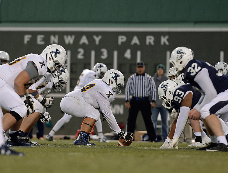 (Boston, MA) St. John's Prep takes on Xaverian during the second half of a high school football at Fenway Park in Boston on Wednesday, November 25, 2015. Photo by Christopher Evans