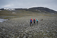 Group of hikers hiking through rugged rocky landscape near Tjäktja pass, the highest point on the Kungsleden trail, Lapland, Sweden