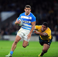 Ramiro Moyano of Argentina takes on the Australia defence. The Rugby Championship match between Argentina and Australia on October 8, 2016 at Twickenham Stadium in London, England. Photo by: Patrick Khachfe / Onside Images